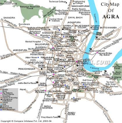 City Map of Agra