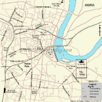 Tourist Map of Agra