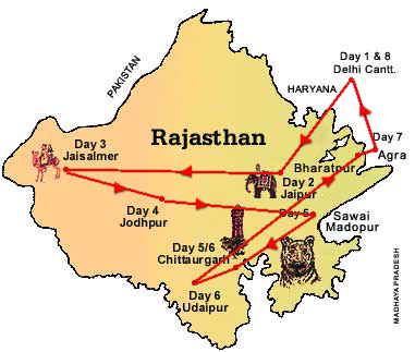 Travel Map Of Palace On Wheels, Palace On Wheels Tour